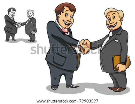Two cartoon smiling businessmen contacting and making handshake. Jpeg version also available in gallery - stock vector