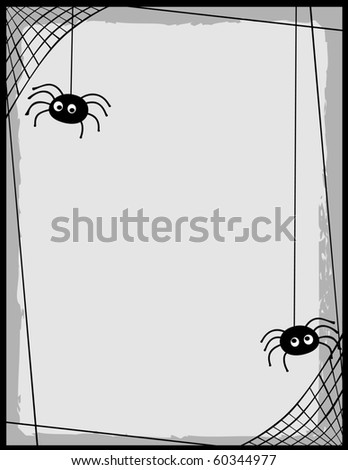 Two cartoon spiders on a web border/ frame with room for text - stock vector