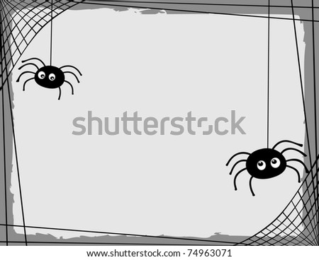 Two cartoon spiders spinning a web border/ frame with room for text - stock vector