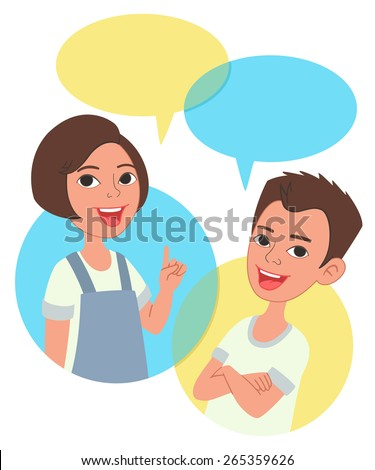 Two cartoon style kids half-length portrait, comics speak bubbles with empty space for text. Caucasian girl and boy talking, asking and answering questions, advising, helping. - stock vector