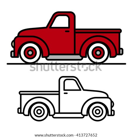 Two cartoon vintage pick-up truck outline drawings, one red and one black and white, in side view, vector illustration - stock vector