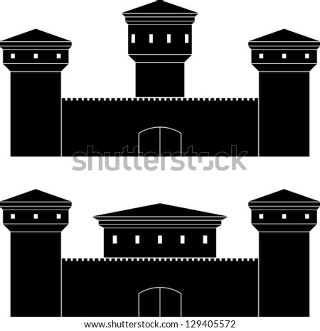 two castles. stencils. vector illustration - stock vector