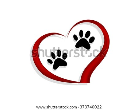 Two cat's paws in red heart