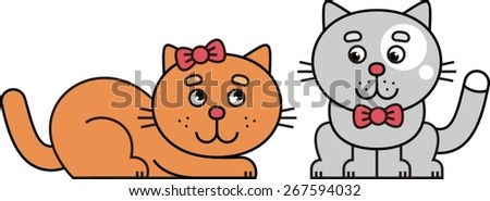 two cats - stock vector