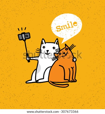 Two Cats Making Photo Using Selfie Stick. Funny Animal Illustration On Distressed Background - stock vector