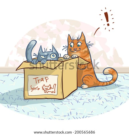 Two cats visiting the box. Vector illustration, EPS 10. Contains transparent objects - stock vector