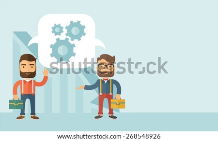Two Caucasian men carrying bags thinking a new business in logistics. Brainstorming, speech bubble gears. Teamwork concept.  A contemporary style with pastel palette, soft blue tinted background - stock vector