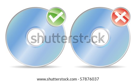 two cds or dvds with ok or not ok record - stock vector