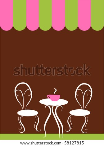two chairs and table in a coffee shop, vector illustration - stock vector