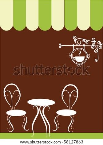 two chairs and table in a coffee shop, vector illustration