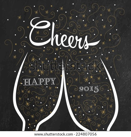 Two champagne flutes with golden doodle bubbles make cheers on chalkboard background. Elegant gold and black New Year greeting - stock vector