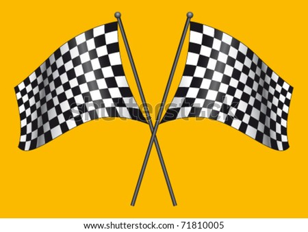 Two checkered flags on a yellow background - stock vector