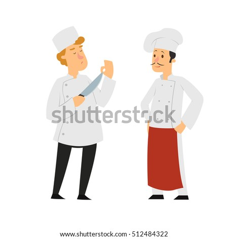 two chef isolated on white background. Battle chefs. vector illustration.