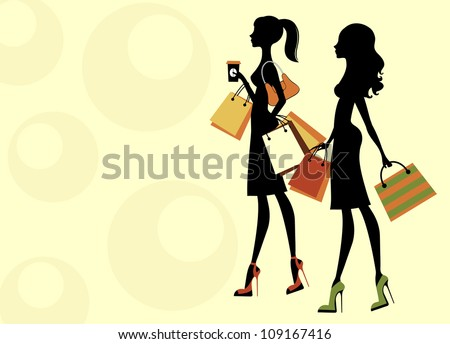 Two chick women shopping - stock vector