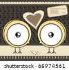 Two chickens in love - stock vector