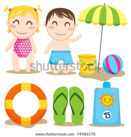 Two children and a collection of beach items and toys - stock vector