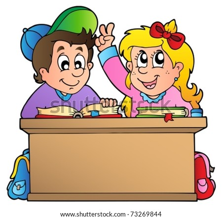 Two children at school desk - vector illustration. - stock vector