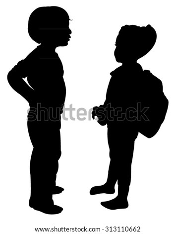 two children talking, silhouette vector - stock vector
