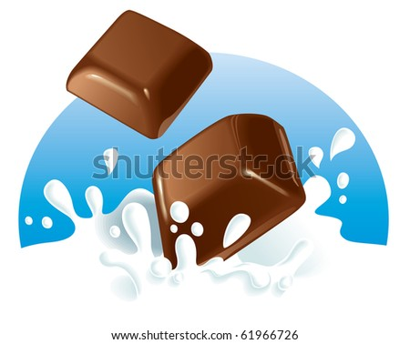 Two chocolate pieces falling in milk, blue background. Vector illustration. The same with strawberries and raspberries in portfolio. - stock vector