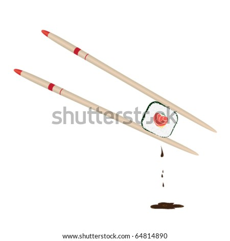 Two chopsticks holding roll with stuffing in form of heart