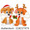 Two Christmas dogs holding decorated bone - stock vector