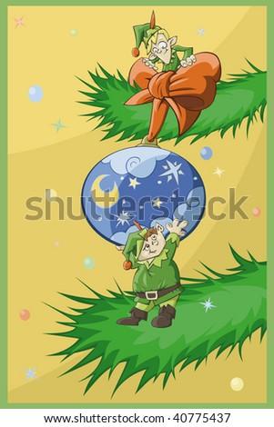 Two Christmas elfs decorate Christmas-tree - stock vector