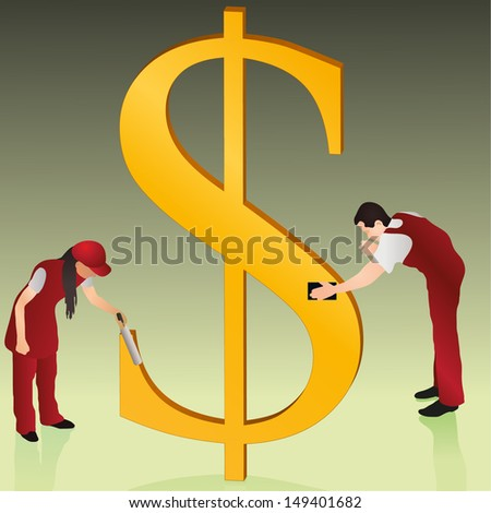 Two cleaners wiping  golden US Dollar sign - stock vector