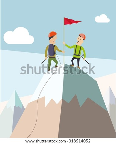 Two climbers on a mountain peak. Business and success concept. Flat vector,  - stock vector