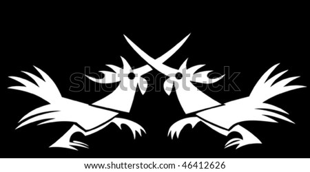 Two cocks fighting in a vector logo style - stock vector