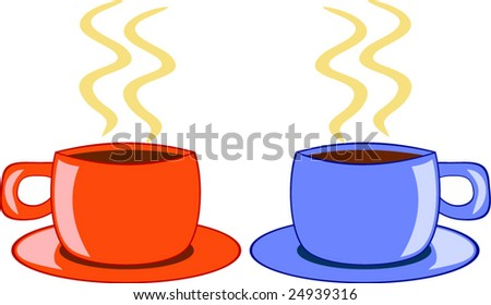 Two coffee cups. - stock vector