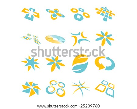 Two Color Abstract Vector Design Elements - stock vector
