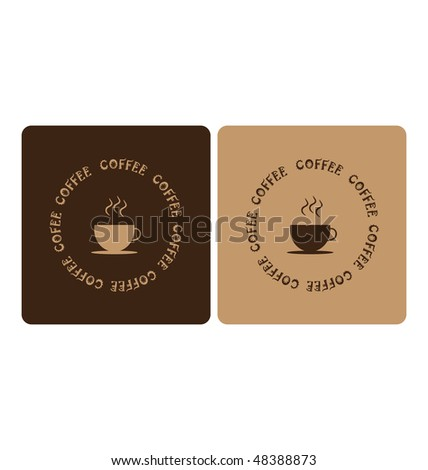 two color backgrounds with illustration of coffee cup