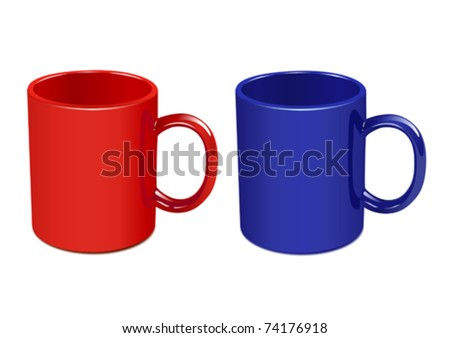 Two color mugs. Vector - stock vector
