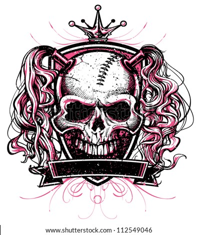Two color vector illustration of a skull with pig tails inside a crest with blank banner, flourish design elements and crown above. Designed for use as a roller derby mascot.