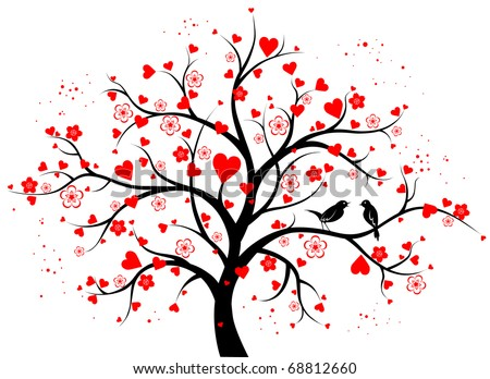 Two-colored decorative tree with hearts - stock vector