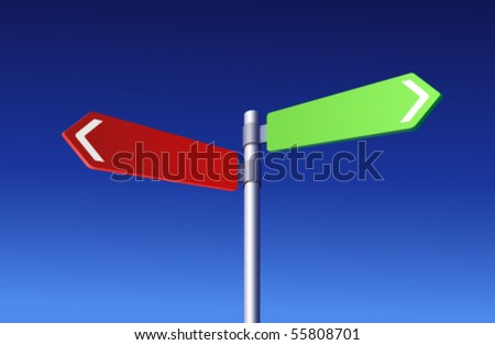 Two colored signs - Choosing concept - stock vector