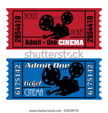 Two colorful cinema tickets in red and blue with movie projector shape - stock vector