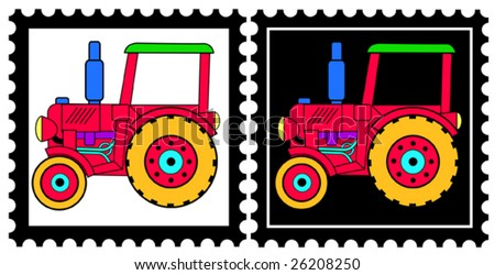 two colorful stamps with toy tractors - stock vector
