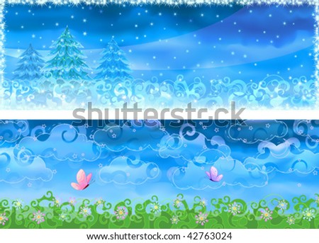 Two colorful winter and summer banners (other landscapes are in my gallery)