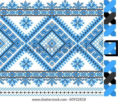 two colors embroidered good like handmade cross-stitch ethnic Ukraine pattern - stock vector