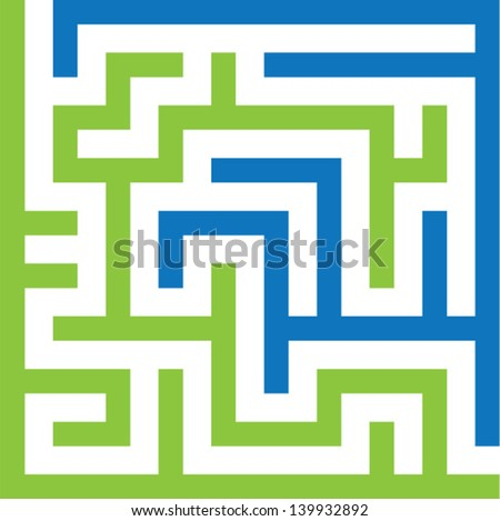 two colors maze - stock vector
