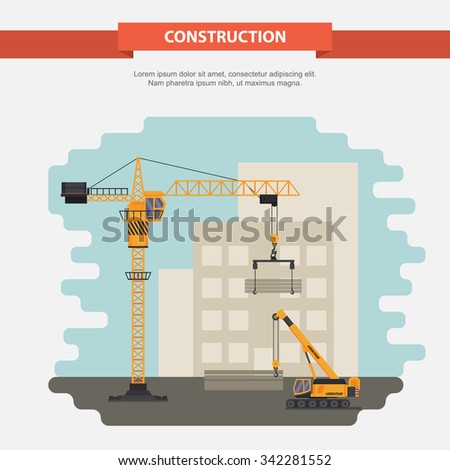 Two construction cranes in the construction of residential, office building. illustration in a flat style. - stock vector