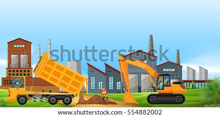 Two construction trucks working in the factory field illustration