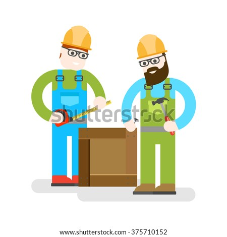 Two construction workers on white background. - stock vector