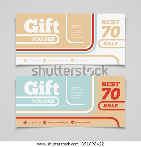 Vector Gift Voucher Coupon Template Design Stock Vector