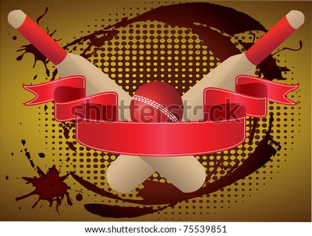 two cricket bats  with red  ribbon grunge - stock vector