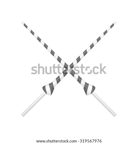 Two crossed lances in black and white design - stock vector