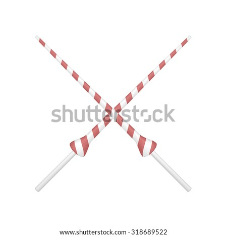 Two crossed lances in red and white design - stock vector