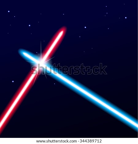 Two crossed light swords on night sky background. Vector illustration. - stock vector