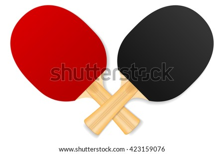two crossed ping-pong rackets - stock vector